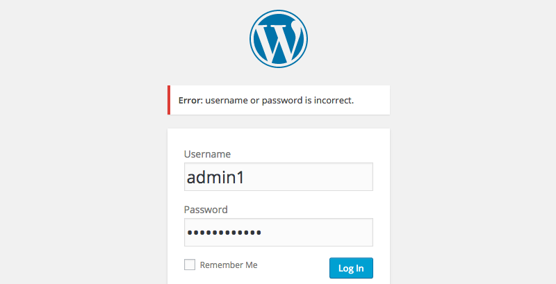 Username or password error message