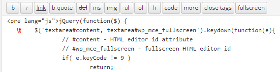 tab indent in WordPress HTML editor