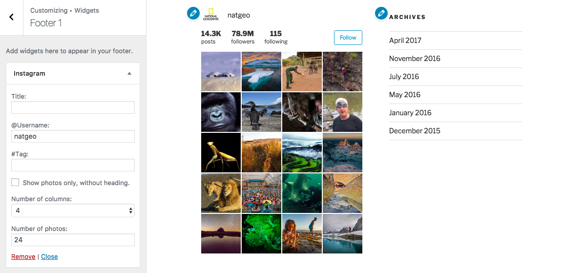 Instagram widget and shortcode plugin for wordpress instagram widget settings in wordpress theme customizer ccuart Choice Image