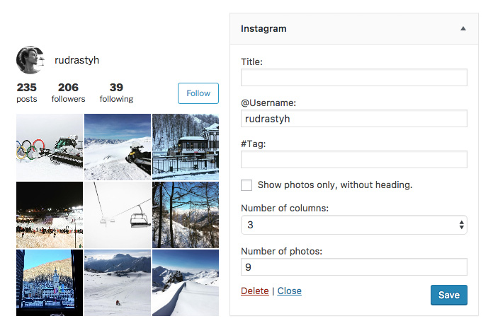Instagram widget settings and its appearance