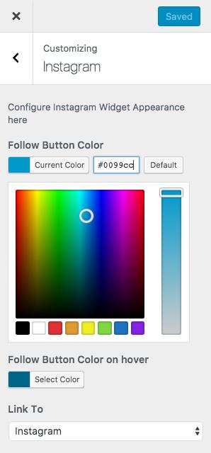 Configure Instagram plugin in WordPress Customizer