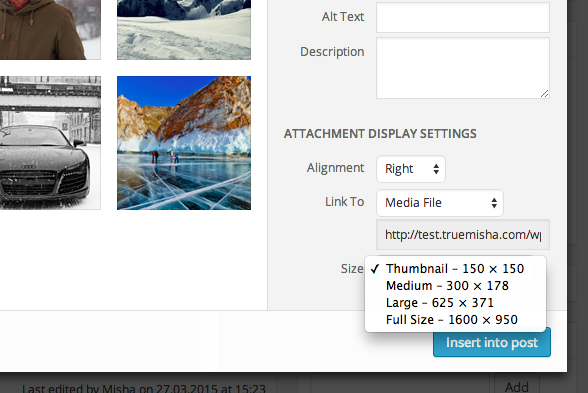 Image sizes dropdown in WP media uploader