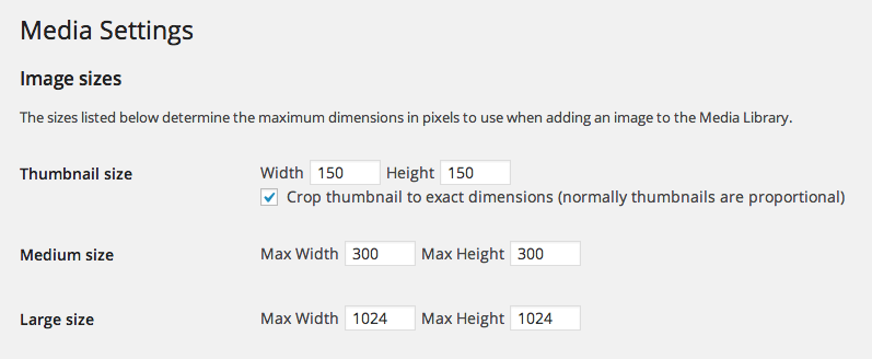 Default image sizes in WordPress