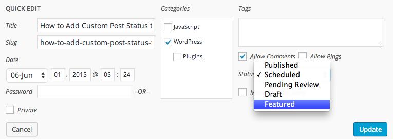 WordPress inline post edit with you custom status in dropdown