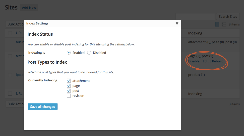 Here you can configure what post types to index for each blog individually.