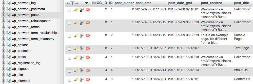 phpMyAdmin: MySQL database tables with posts and terms indexed from all sites in a network.