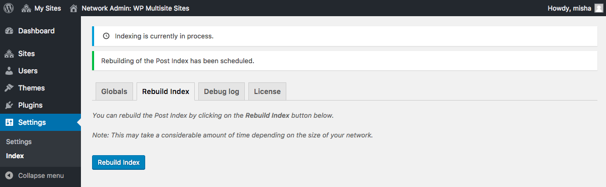Go to the Rebuild Index tab if you want to add your old posts to the network index.