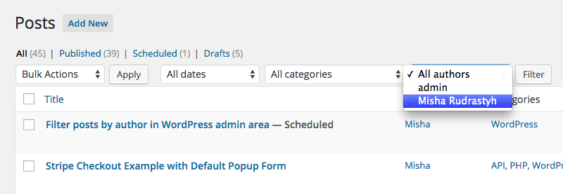 How to filter all posts by authors in WP administration area.