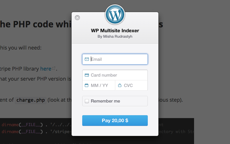 The example of Stripe popup checkout.
