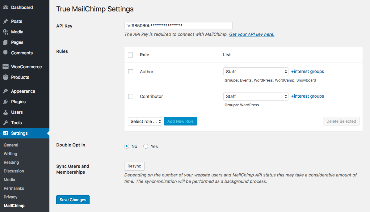 Each WordPress user role can be synchronized with the different MailChimp list. Group Interests are supported as well.