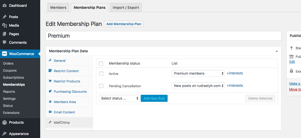 If WooCommerce Memberships is installed on your website, you can configure MailChimp synchronization just in plan settings.