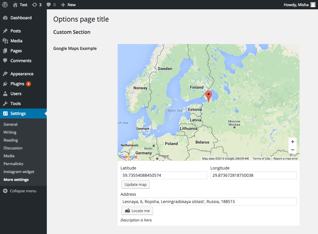 Custom options page with Google Maps in it created with the plugin.