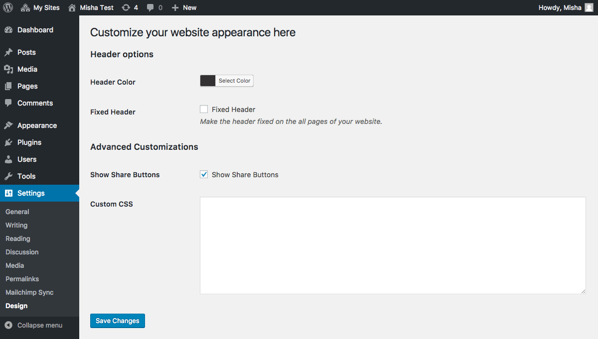 Example of the settings page, created with my plugin in less than 10 minutes.
