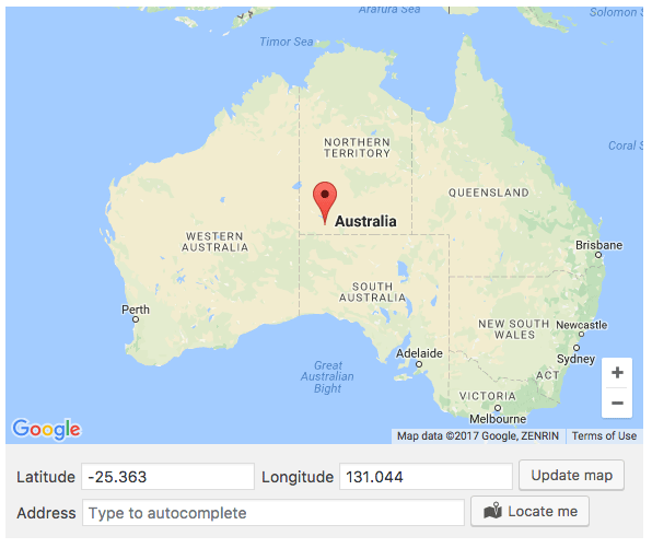 Google Maps for your metabox or for your options pages with Locate me button.