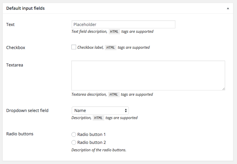 WordPress Metabox with common input fields - text, textarea, checkbox, select and radio buttons.