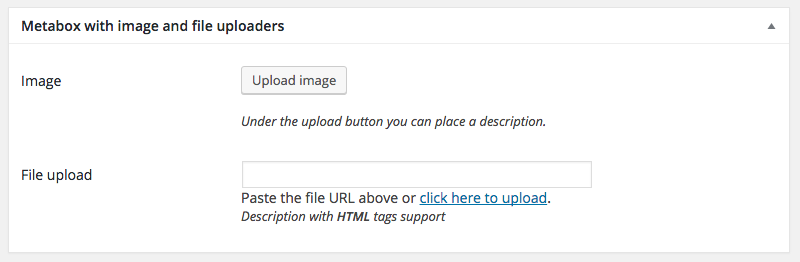 WordPress MetaBox with image and file uploaders