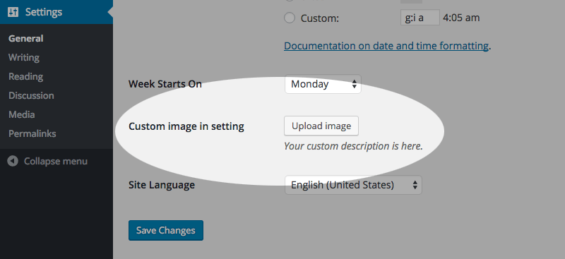 Image Upload Button in WordPress general settings.