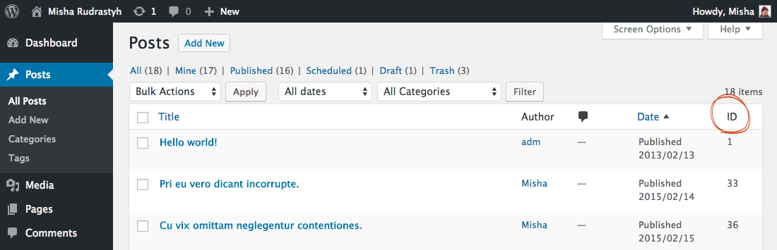 Example of adding the Post ID column to posts table in WordPress admin area.