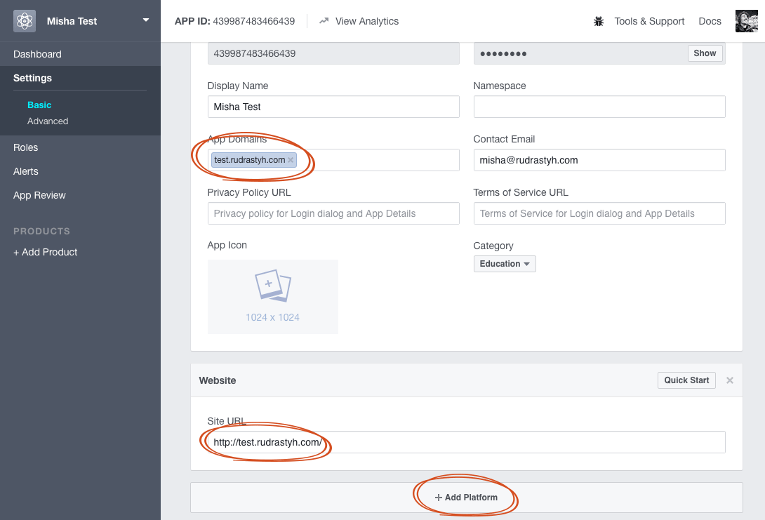 Configuring App Domains in FaceBook application