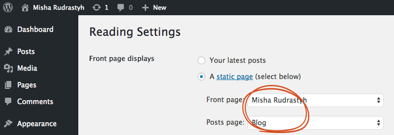 Reading settings, what page to display on the fron page and what page should be a posts page.