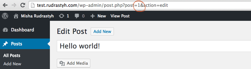 You can find ID of a specific post in its URL when you edit it.