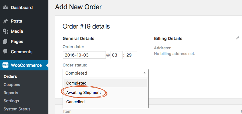 Custom order status in WooCommerce