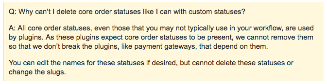 Be careful with core order statuses