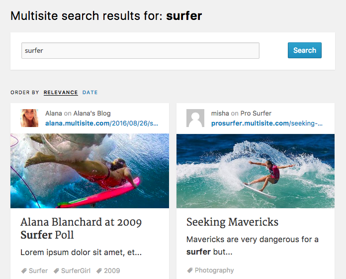 Multiple blogs search results