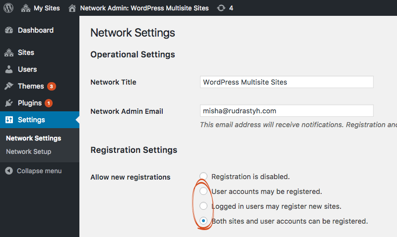 User accounts and new sites in a network may be registered.