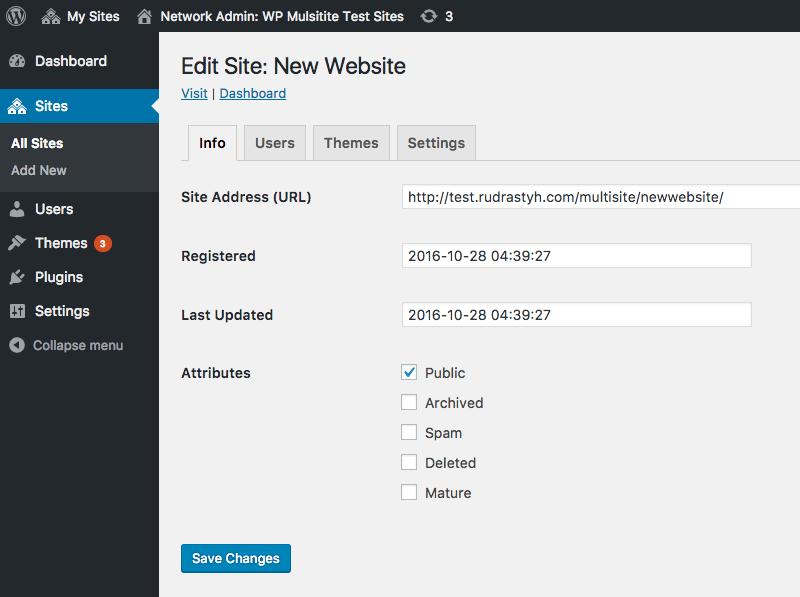 Network blog attributes in the edit menu