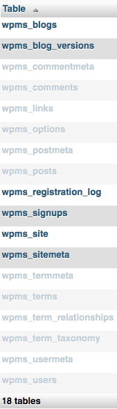 Tables for WordPress Multisite are highlighted