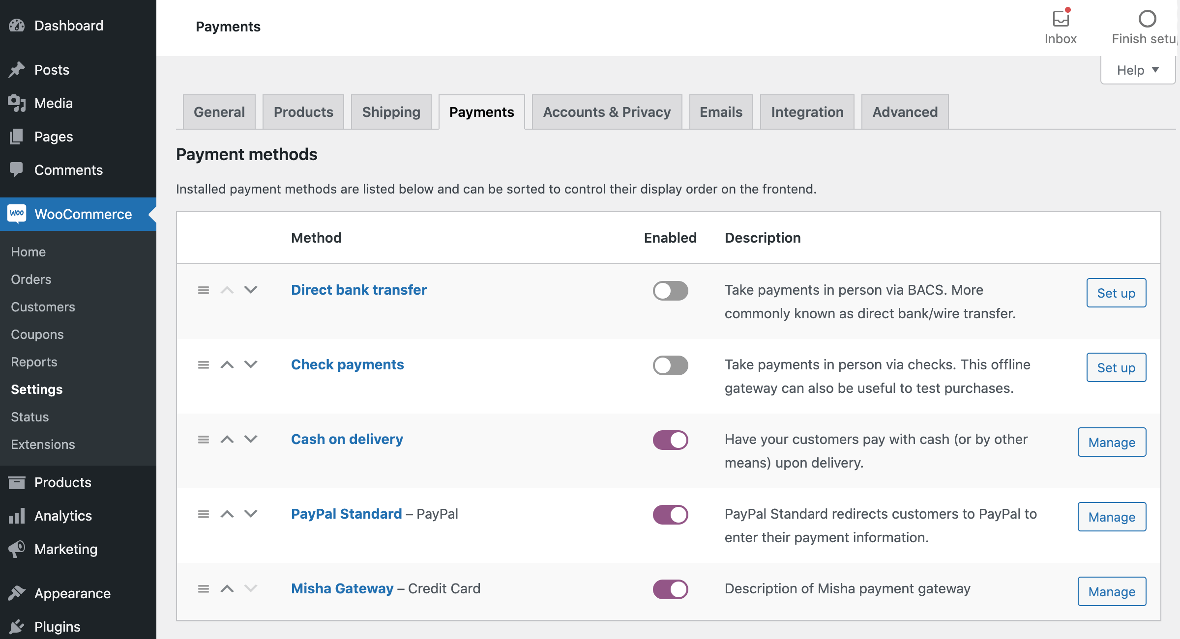 All the installed WooCommerce payment gateways under the Checkout tab in the shop settings.