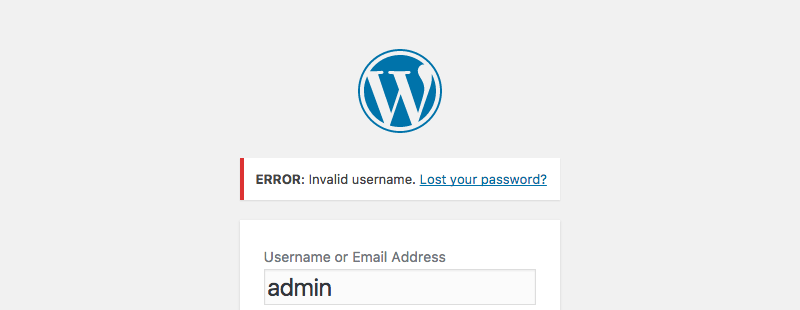 Login errors in WordPress: Incorrect Username.
