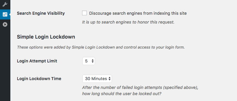 Simple Login Lockdown plugin adds its options to the Settings > Reading page.