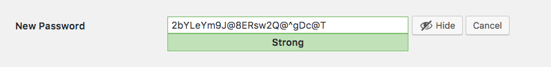 The suggested strong passwords in WordPress.