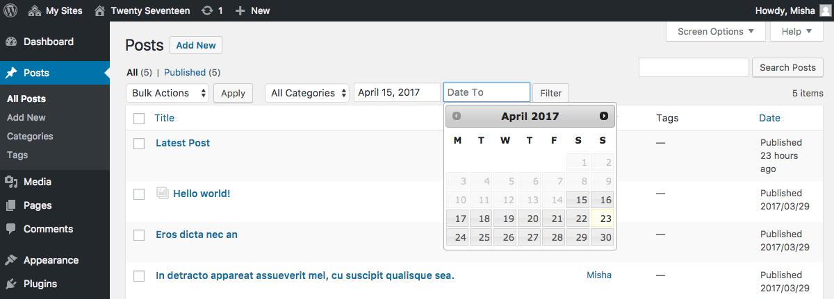 Very simple date range filter for WordPress posts.