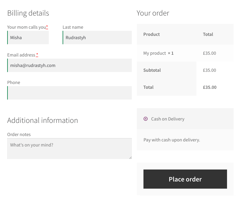 WooCommerce Checkout Fields — Add, Remove and Validate