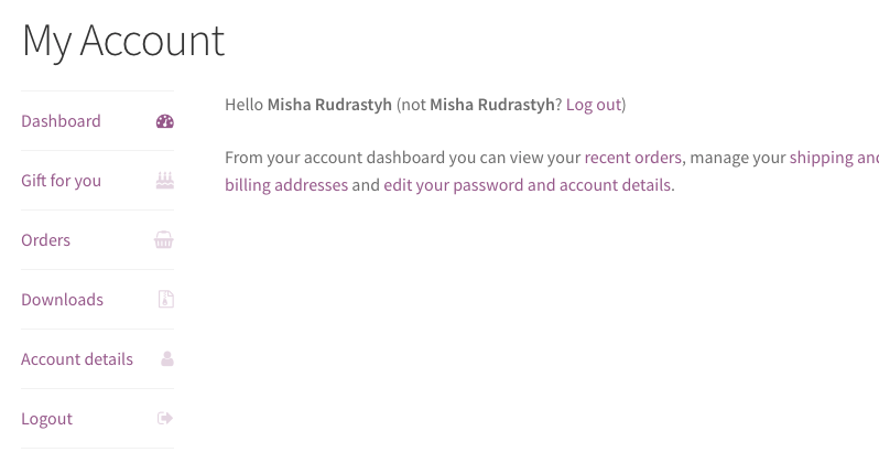 Here we added custom My Account menu link with its own icon.