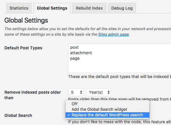 WordPress Multisite Global Search Settings