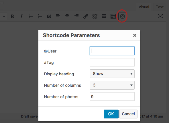 Instagram editor shortcode button