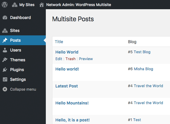 All network posts on one page WP Multisite
