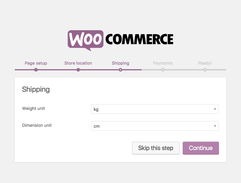 Configure Units during WooCommerce installation