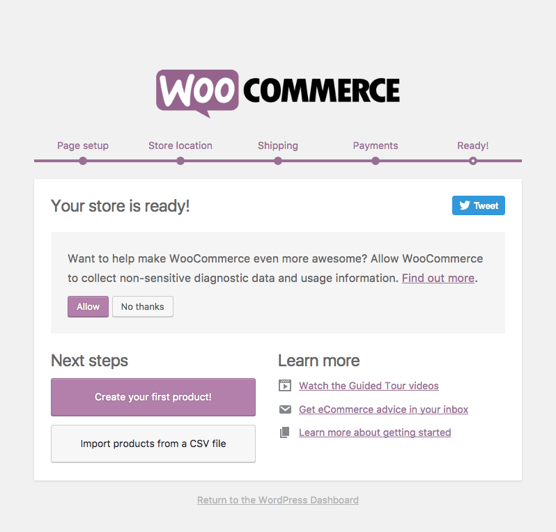 WooCommerce Installation Complete