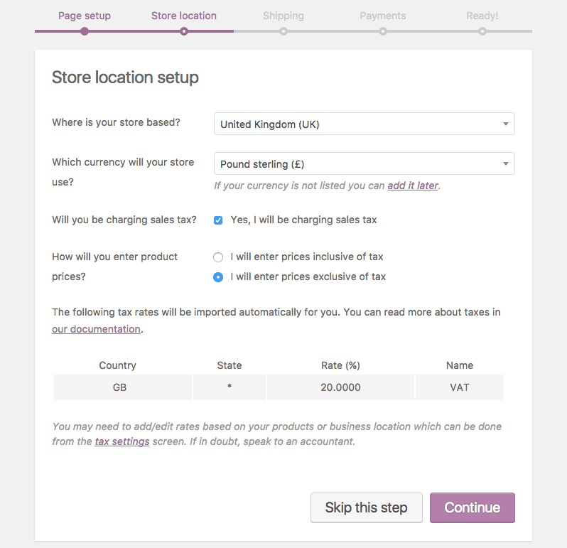 WooCommerce store location and currency settings
