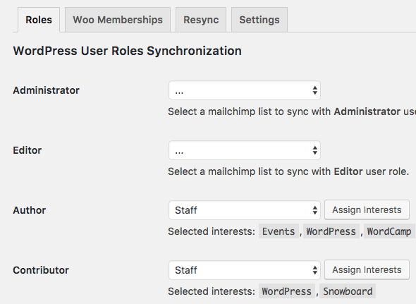 WordPress sync user roles with MailChimp