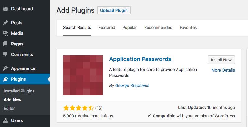 Application Passwords plugin for WordPress REST API