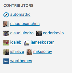 WordPress contributors that are displayed in a plugin update popup