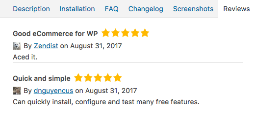 WordPress plugin reviews which are displayed in plugin update info