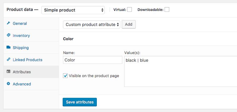 Custom product attributes created with WooCommerce API