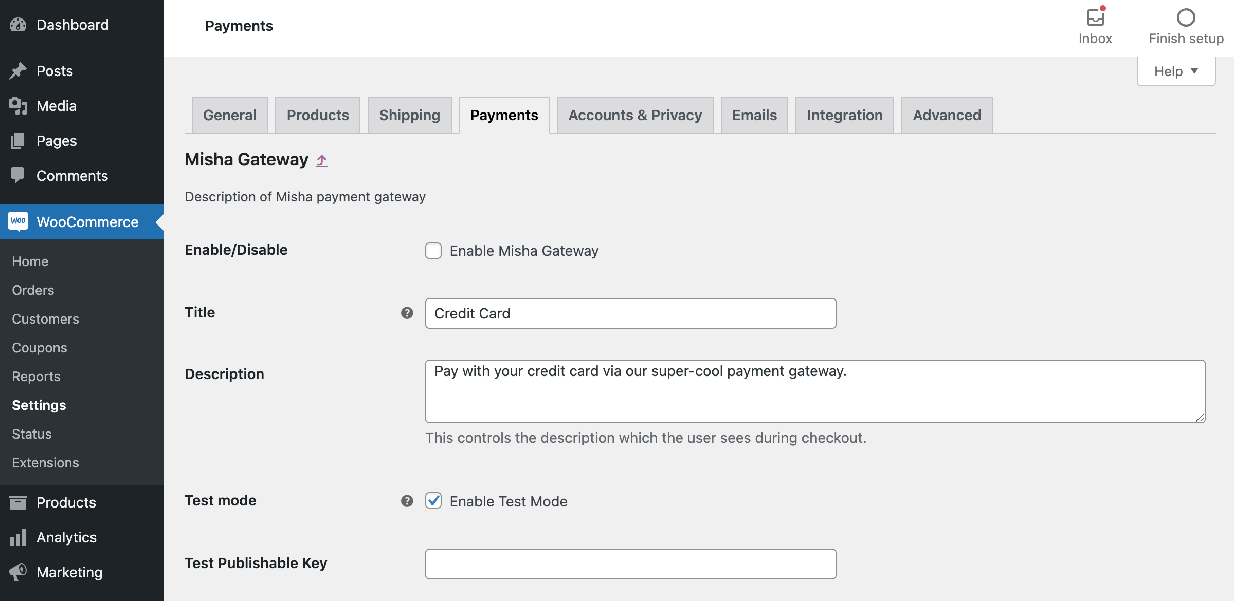 WooCommerce custom payment gateway options.